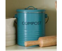 Composteur en aluminium avec couvercle et filtre charbon 2.5L Vintage Kitchen Bleu