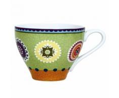 Lot x6 Tasse à thé en grès à motifs 22cl CARACAS Vert