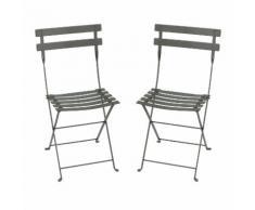Chaise pliante en acier laqué lattes galbées - lot de 2 BISTRO Romarin