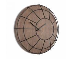 Horloge murale en bois et métal effet cage D.41.3x12.7cm CAGE Noir