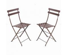 Chaise pliante en acier laqué lattes galbées - lot de 2 BISTRO Rouille