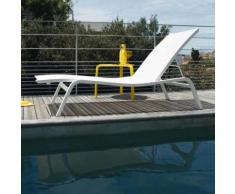 Bain de soleil empilable multi positions Acier/Toile TTE Longueur 190cm ALIZE XS Blanc