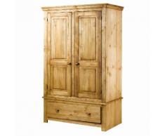 Armoire de chambre pin massif brossé 2 portes et 1 tiroir Longueur 100 cm BRUSH