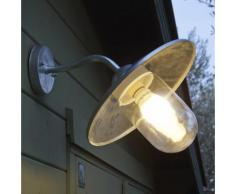 Applique extérieure électrique col de cygne en acier galvanisé et verre hauteur 30cm Riga