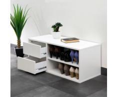 Meuble à chaussures / Banc 2 niches 2 tiroirs Longueur 89.5 ARNOLD Blanc