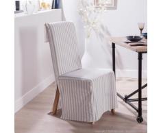 Housse de chaise polycoton rabat dossier large rayure gris DAPHNEE