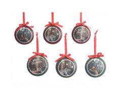 Set de 6 suspensions rondes en fer motifs assortis vintage D.10cm CAMP