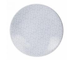 Assiette à dessert en grès motifs fleurs dessin D.21cm - Lot de 6 SOLEA Gris