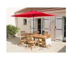 Parasol droit ajustable aluminium et polyester rectangulaire EVENTIA Rouge