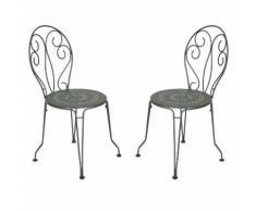 Chaise de jardin empilable en acier - assise perforée (par 2) MONTMARTRE Romarin