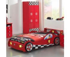 Lit voiture de course rouge avec sommier Couchage 90 x 200 cm MONZA
