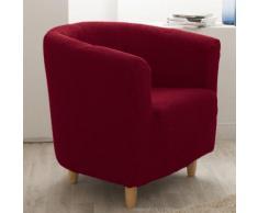 Housse de fauteuil cabriolet/club unie bi-extensible coton/polyester LISA Rouge
