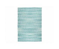 Tapis rectangulaire 100% coton motifs géométriques bleu/blanc NOMADE 180x130cm