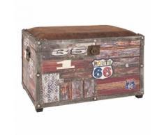 Coffre de rangement bois + assise rembourrée tissu aspect cuir WHITSTABLE Route 66