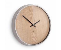 Horloge murale en bois contour métal sans chiffre D.31.8cm MADERA Argent