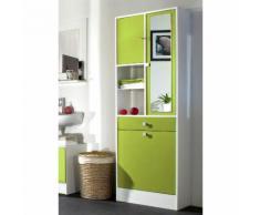 Armoire salle de bain L62.6xP28.4x181.1cm BANIO Blanc / Vert