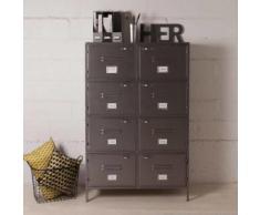 Bibliothèque 8 casiers en métal gris L100cm H154cm DECOCLICO FACTORY