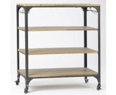 Console en bois et métal avec étagères et roulettes L102 cm ROLL