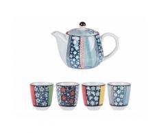 Coffret théière et 4 gobelets motifs graphiques originaux bleu en porcelaine OSLO