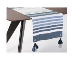 Chemin de table 100% coton rayure bayadère bleu/gris fil lurex pompons 45x150cm HORIZON