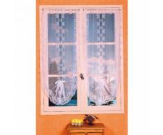 Voilage vitrage à passant dentelles fleurs blanc 60x130cm - lot de 2 BONNE FEMME