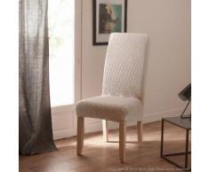 Housse de chaise uni bi-extensible coton/polyester - lot de 2 LISA Ecru
