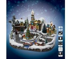 Village de Noël avec église, sapin de Noël et traineau JJA