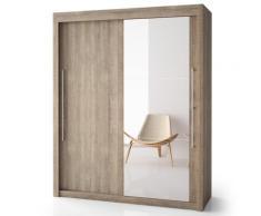 Armoire porte bois + porte miroir H220 cm Deborah, 180 cm