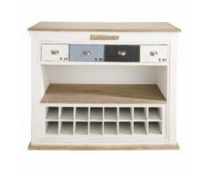 Meuble de bar avec tiroirs en bois blanc effet vieilli L 129 cm Molene