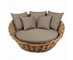 Canapé rond de jardin en rotin et coussins taupe St Tropez
