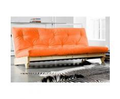 Banquette lit futon orange FRESH 3 places convertible couchage 140*200cm