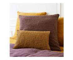 Coussin rectangulaire en lin lavé, 30x40cm, vichy couleur OCRE Monoprix Maison