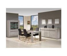 Leylina Argentier 2 portes avec salle à manger complète coloris chêne grisé