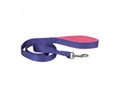 Laisse sangle violette en nylon pour chien avec poignée confort Chapuis Sellerie Largeur 20 mm Longueur 1,20 m
