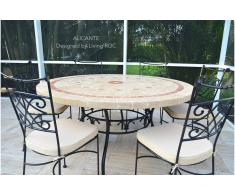 Living ROC Table de jardin mosaïque de marbre ronde haute de gamme 125-160cm - ALICANTE