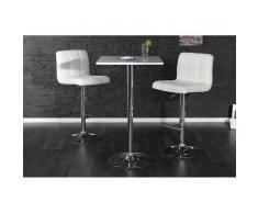 Leylina Table de bar carrée en bois mdf coloris blanc