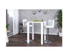 Leylina Table haute de bar blanc laqué d'un design parfait et solide