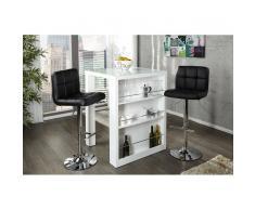 Leylina Table de bar carrée design en verre et bois mdf coloris blanc laqué