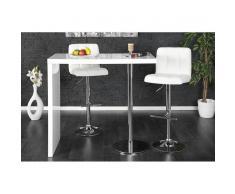 Leylina Table haute de bar en bois mdf coloris blanc laqué