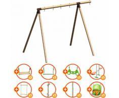 Portique bois évolutif TRIGANO 2,50 m. 4 enfants - 9 agrès inclus