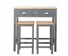Table à manger haute et 2 tabourets gris L90 Chablis